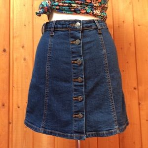 Hot Kiss Button Front Denim Jean Skylar Skirt M